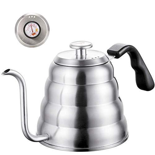 送料無料 プアオーバーコーヒーケトル 温度計 - グースネック プレミアム品質 ステンレスス