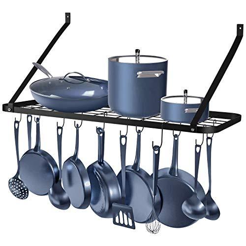 送料無料 Rottogoon 鍋とフライパン用ラック 壁取り付け型 30インチ 壁掛けポットラック フック