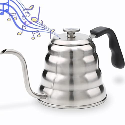 送料無料 ホイッスリング コーヒーケトル グースネック 注ぎ口 温度計付き 人間工学ハンド