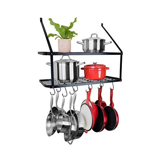 送料無料 高耐久キッチン壁掛け鍋とフライパンラックオーガナイザー 10フック付き 2段棚 キ