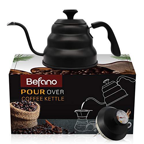 送料無料 Befano グースネックケトル コーヒーティーケトル 温度計付き 断熱ハードプラスチ