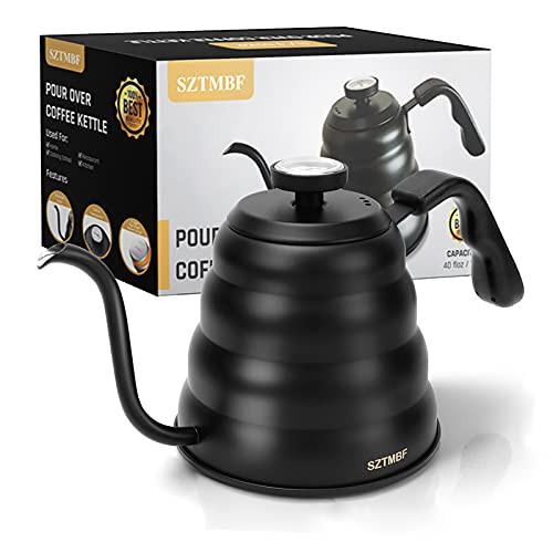 送料無料 Pour Over Kettle SZTMBF ポアオーバーコーヒーケトル 温度計付き ステンレススチール グ