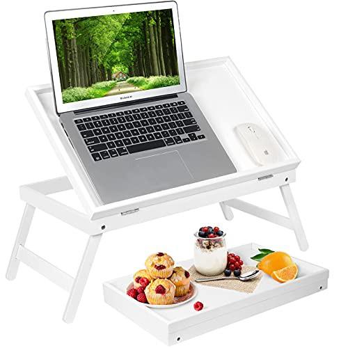 新品送料無料竹製ラップデスク ベッドテーブル ホワイト 朝食トレイ 折りたたみ脚付き