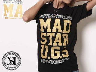 MAD STAR MS15NA52 U.G.SラメプリントTEE カラー:ブラック サイズ:WM