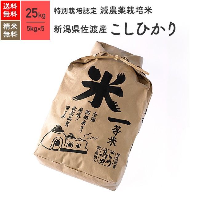 特別栽培米 新潟県佐渡産 こしひかり 25kg(5kg×5袋) 令和2年産