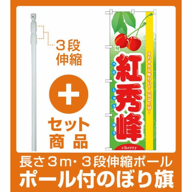 【セット商品】3m・3段伸縮のぼりポール(竿)付 のぼり旗 (7972) 旬紅秀峰(果物・フルーツ/いちご)