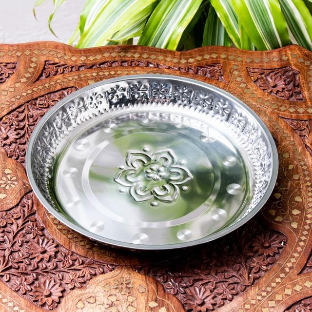 バリのアルミ飾り皿【直径 約26cm】 / 小物入れ アルミ皿 おぼん お盆 インド タイ プレート お供え アジアン食品 エスニック食材