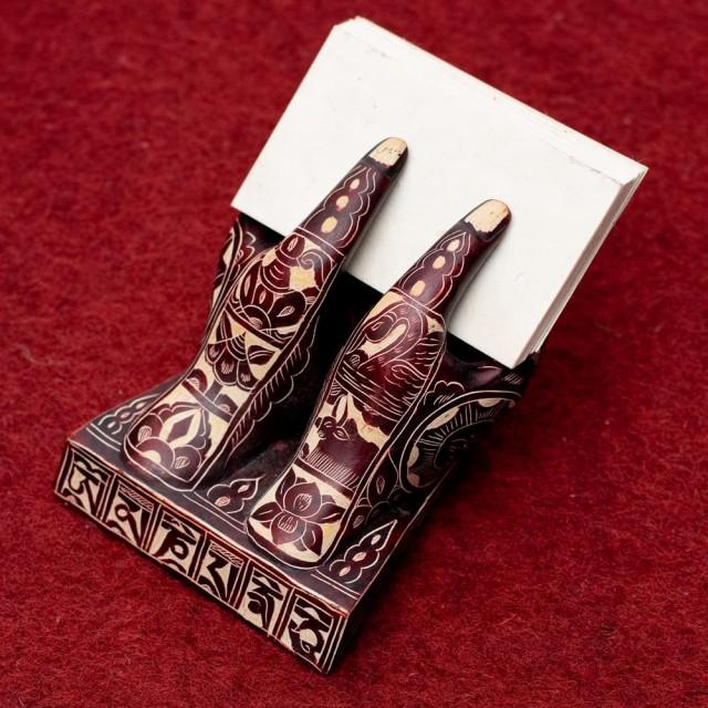 ネパールの名刺置き 赤茶 / ショップカード カードホルダー インド アジア 雑貨 エスニック