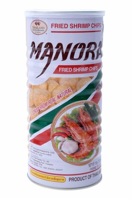 フライドシュリンプチップス Lサイズ缶【Manora】 / エビせん えびチップス お菓子 MANORA(マノーラ) タイ スナック アジアン食品 エス