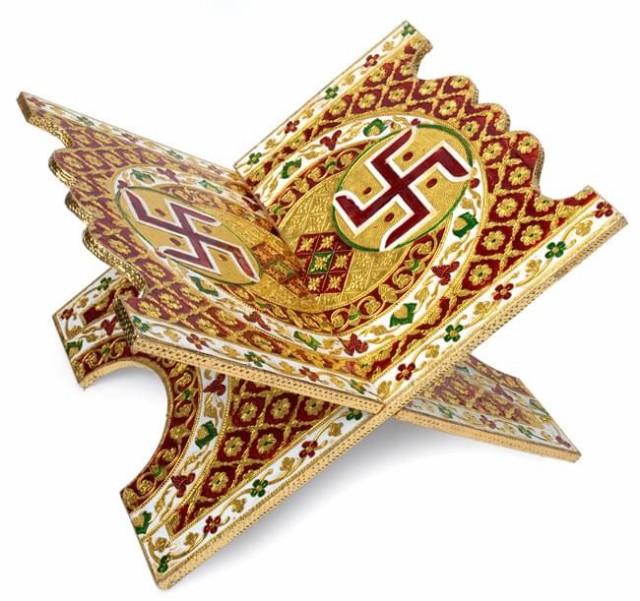 【送料無料】 ヒンドゥー教の書見台 大【スワスティカ】 / ブックスタンド コーラン エスニック インド アジア 雑貨
