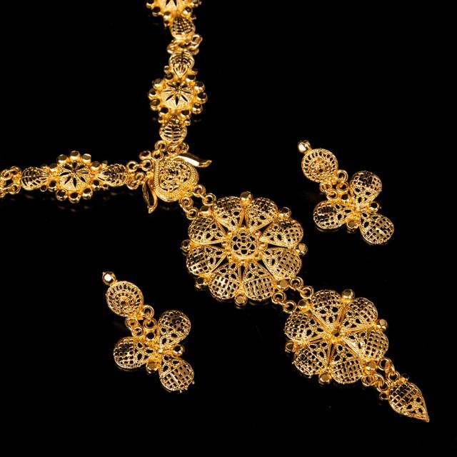 ゴージャス ゴールド ネックレス&ピアスセット インド伝統アクセサリー / アクセサリーセット パーティー 結婚式 ペンダント エスニック