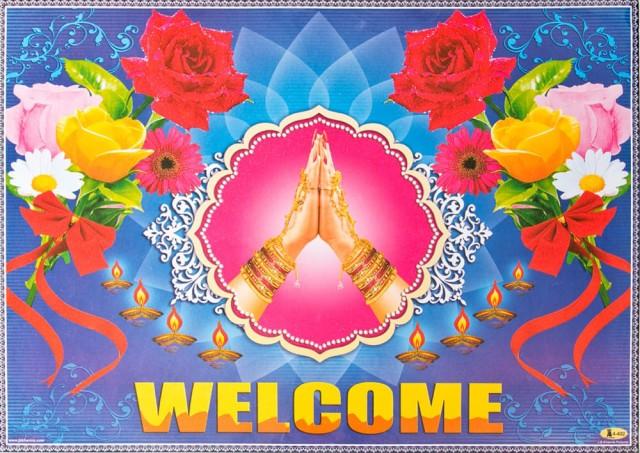 インドの大判ウェルカムポスター 【蓮の花とナマステ】 / お祝い ヒンドゥー教 神様 本 印刷物 ステッカー ポストカード
