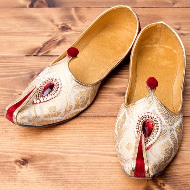 男性用宮廷靴 モジャリレッド×ホワイト / 仮装 コスチューム フラットシューズ ペッタンコ靴 インド アジア サンダル レディース エスニ