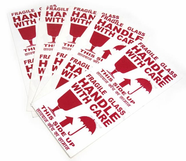 インドの壊れ物ステッカー 全6色(1シート2枚×5枚セット) / シール 危険表示 紙 神様 本 印刷物 ポストカード ポスター