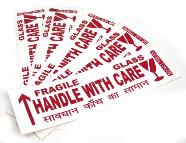 インドの壊れ物ステッカー 横長白(5枚セット) / シール 危険表示 紙 神様 本 印刷物 ポストカード ポスター