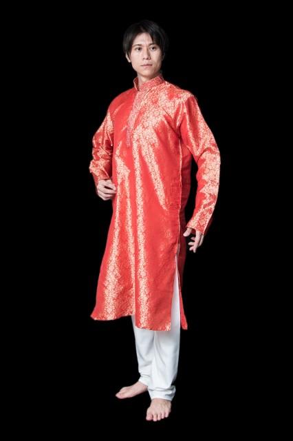 【送料無料】 クルタ パジャマ【光沢生地 シャイニングレッド】 / クルタパジャマ Kurta Pajama 男性 民族衣装 メンズ 男性物 インド エ