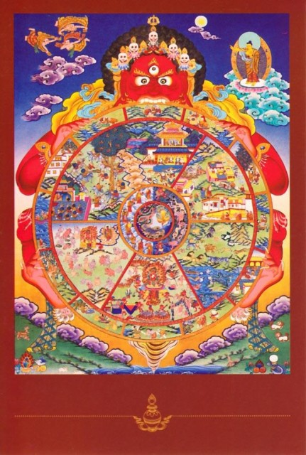 Wheel of Lifeのポストカード / はがき おみやげ タンカ 曼陀羅 マンダラ 仏画 インド 本 印刷物 ステッカー ポスター