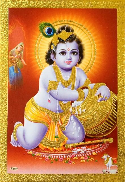 金の神様ポストカード ベイビークリシュナ / ポスター ゴールド インド 本 印刷物 ステッカー