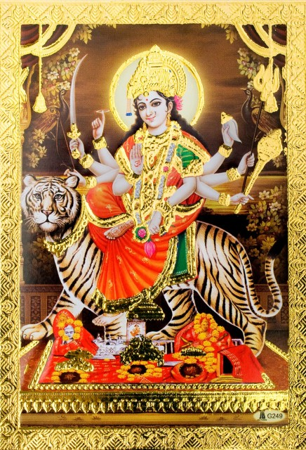 金の神様ポストカード ドゥルガー / ゴールド インド 本 印刷物 ステッカー ポスター