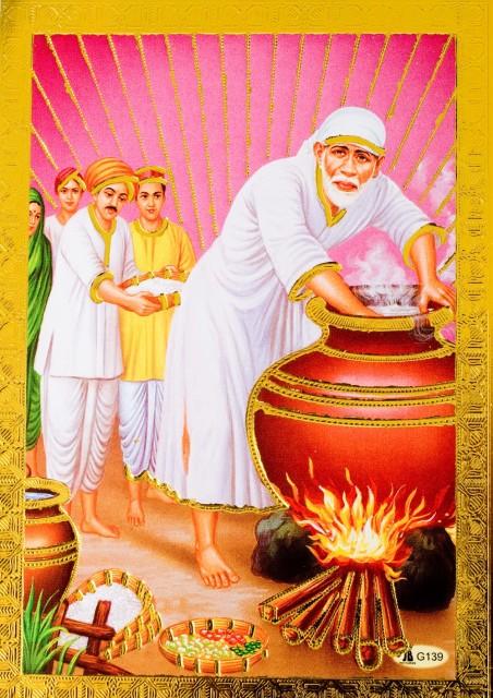 金の神様ポストカード サイババ / ゴールド インド 本 印刷物 ステッカー ポスター