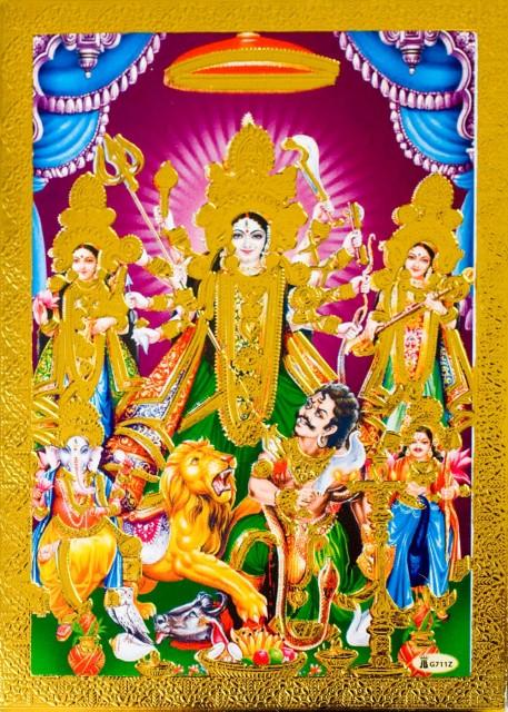 金の神様ポストカード ドゥルガーと退治されるマヒシャ / ゴールド インド 本 印刷物 ステッカー ポスター